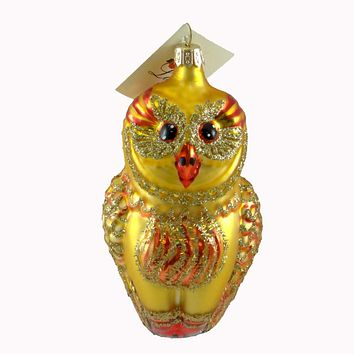 Laved Italian Ornaments Gold Owl Red Accents Glass Ornament