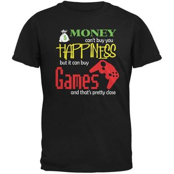 Money Happiness Video Games Funny Black Adult T-Shirt Day-First™