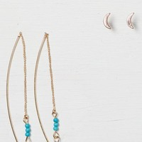 AEO Women's Turquoise & Gold Earring Trio (Gold)
