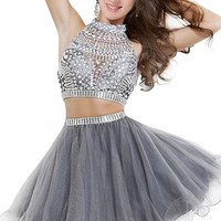 Babyonline Two Pieces Prom Dresses 2016 Short Organza Cocktail Party Gowns