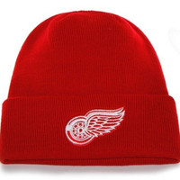 NHL Detroit Red Wings '47 Raised Cuff Knit Hat, Red, One Size