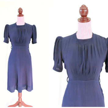1930s Dress / VINTAGE / Crepe / Navy Blue / Sheer / Red Buttons / Short