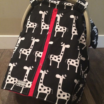 Carseat Canopy Giraffe and Red MINKY inside