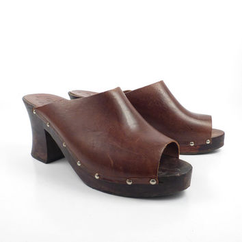 Leather Wooden Clogs Vintage 1970s Wood Platform Whiskey Brown LJ Simone Women's size 9