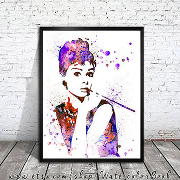 Audrey Hepburn Watercolour Painting Print, watercolor painting, watercolor art, Audrey Hepburn poster,Celebrity Portraits,Audrey Hepburn art