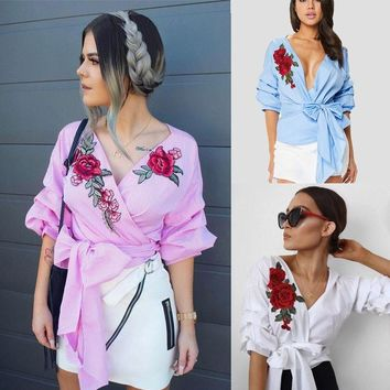 Streetstyle  Casual Fashion Womens Summer Embroidered Shirt Casual Blouse Loose Cotton Tops T Shirt