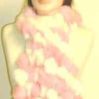 Imported Light Pink Color Four Strand Luxurious Rabbit Fur Scarf for Women and Teens Offered in Comb