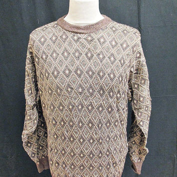 Vintage 80s Jantzen Classic Brown Diamond Sweater Jumper L