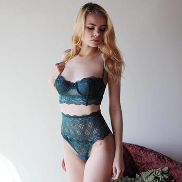 lace underwire bra with longline body - womens lingerie range - ROMANTIC - made to order