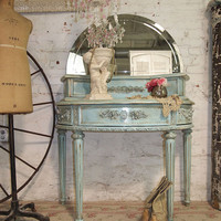 Painted Cottage Chic Shabby Aqua Romantic Vanity