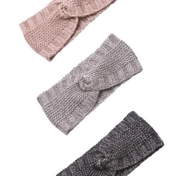 Twist Knit Ear Warmers - Gray, Taupe or Black