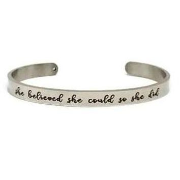 She Believed She Could So She Did Bangle Bracelet (Stainless)