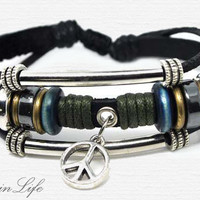 Hand-woven ethnic leather hemp bracelet BL9