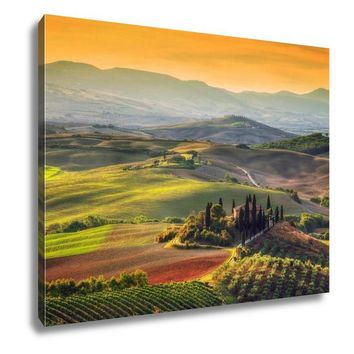 Gallery Wrapped Canvas, Tuscany Landscape At Sunrise Typical For The Region Tuscan Farm House Hills