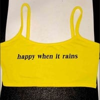 SWEET LORD O'MIGHTY! HAPPY WHEN IT RAINS BRALET IN YELLOW