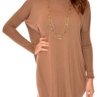 LARUE LUXE TUNIC DRESS IN MOCHA