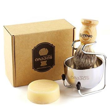 Shaving Set with Goat Milk Shaving Soap 100g, 4pcs Anbbas Pure Badger Shaving Brush Solid Wood Handle,Stainless Steel Shaving Stand and 2 Layers Shaving Bowl Kit Perfect for Men Gift