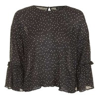 Spot Flute Sleeve Top - Tops - Clothing