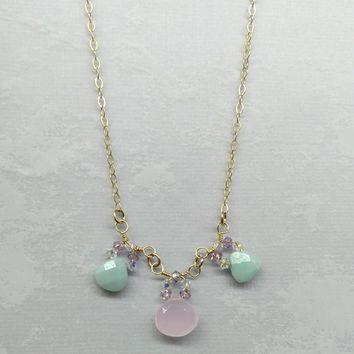 14 K Gold Filled  Rose Mint Green Chalcedony Amazonite Briolette Necklace