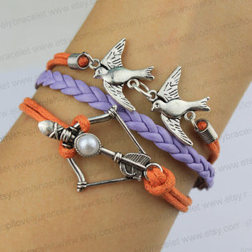 Birds of the bracelet, hunger games bows and arrows bracelet, wax rope orange and purple leather, the best friendship gift