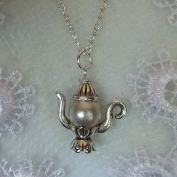 Silver teapot necklace on sterling silver plated chain