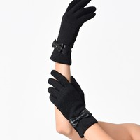 Black Jacquard Floral Bow Texting Gloves