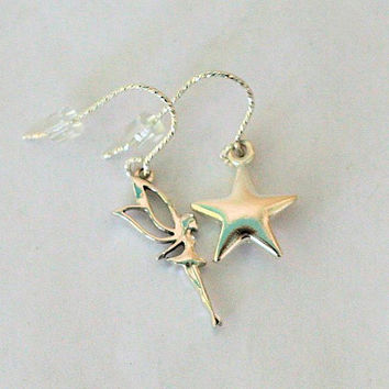 Peter Pan Tinkerbell Neverland Earrings in Solid Sterling Silver Second Star Right