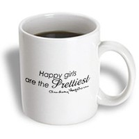 3dRose mug_163999_1 Happy Girls are The Prettiest, Audrey Hepburn Quote Ceramic Mug, 11-Ounce