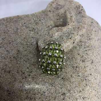 Vintage Handmade Sterling Silver genuine green peridot stud button earrings