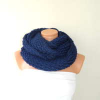 Knitted Dark Blue infinity Scarf. Block Infinity Scarf. Loop Scarf, Circle Scarf, Neck Warmer. Navy Blue Crochet Infinity