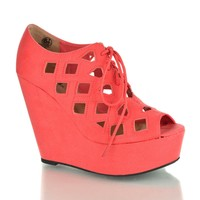 Resist Salmon By Soda, Lace Up Perforated Cut-Out Platform Wedges