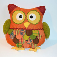 Adorable OWL  Pillow Mixed Fabrics Quilted