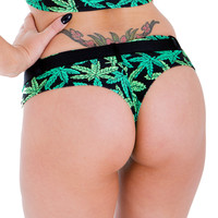 New Marijuana Print Belted Booty Short By Sassy Assy
