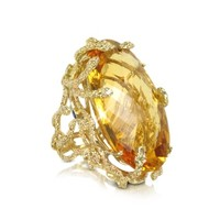 Bernard Delettrez Designer Rings Medusa Gold and Citrine Ring