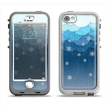 The Snowy Blue Paper Scene Apple iPhone 5-5s LifeProof Nuud Case Skin Set