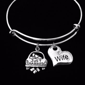 Just Married Wife Jewelry Expandable Charm Bracelet Silver Adjustable Wire Bangle Stacking One Size Fits All Gift Newlyweds