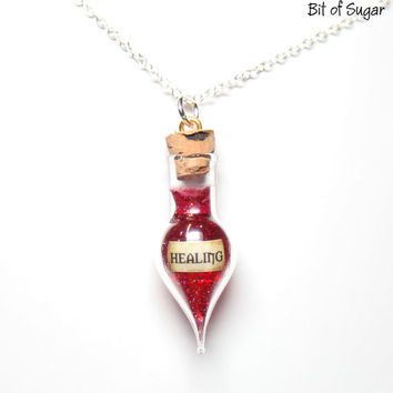 Healing Potion Necklace  health potion vial by BitOfSugar on Etsy