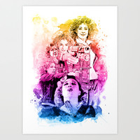 River Song/Doctor Who/Alex Kingston inspired Mixed Media Watercolor Portrait Art Print by Purshue feat Sci Fi Dude