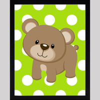 Bear on Lime Green Dots Print Nursery Decor Baby Print Animals Art CUSTOMIZE YOUR COLORS 8x10 Prints Nursery Decor Art Baby Room Decor Kids