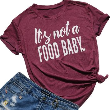 FAYALEQ Womens It's Not a Food Baby Funny T-Shirt Cute Mom Shirt Casual Short Sleeve Tee Size L (Dark Red)