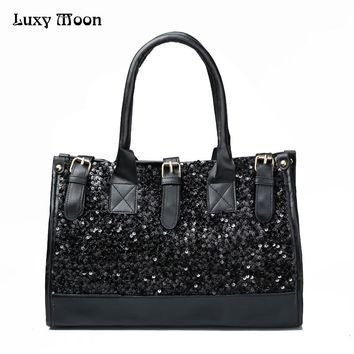 Luxy Moon Women Handbag PU Leather Tote Shoulder Bags Satchel Cross Body Bags Fashion Sequins Glitter Casual Potable Purse