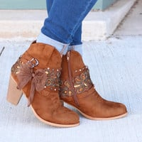 Denny Bow & Bling Wrap Heeled Bootie {Tan}