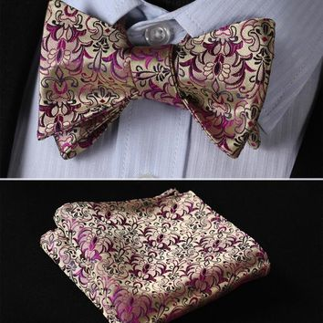 BF2023D Gold Purple Floral Classic 100%Silk Jacquard Woven Men Butterfly Self Bow Tie BowTie Pocket Square Handkerchief Suit Set