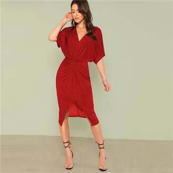 V Neck Twist Front Half Sleeve Split Sexy Bodycon Dress