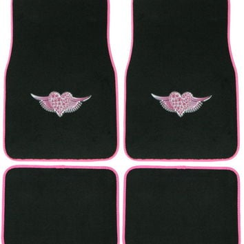 Angel Wing Heart 4 Pc Floor Mat Set