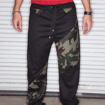Black Athletic Wear Fabric and Army Camouflage Print Fabric - Drop Crotch /Harem or Jogger Pants - With Pockets and Silver Tassels