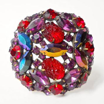 Fruit Salad Brooch KRAMER of N.Y. Molded Glass & AB Rhinestone, Vintage