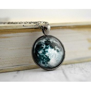 Full Moon Necklace : Pendant. Charms. Picture Pendant. Photo Pendant. Space