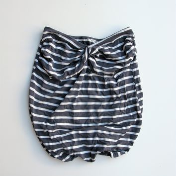 Grey & White Striped Twisted Bandeau Tube Top XS