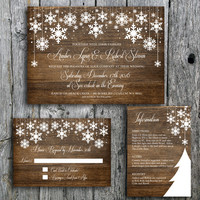 Winter Wedding Invitation Set with Snowflakes on Wood - Printable Wedding Invitation, RSVP and Guest Information Card